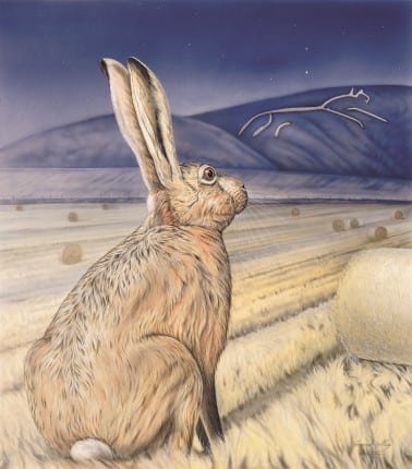 'Star Gazing Hare - a painting by Joanna May. The hare is sitting below Uffington Hill on the Berkshire downs in Oxfordshire. The hare is dreamily looking up at the White Horse. Above the hills is the constellation of the plough in the sky