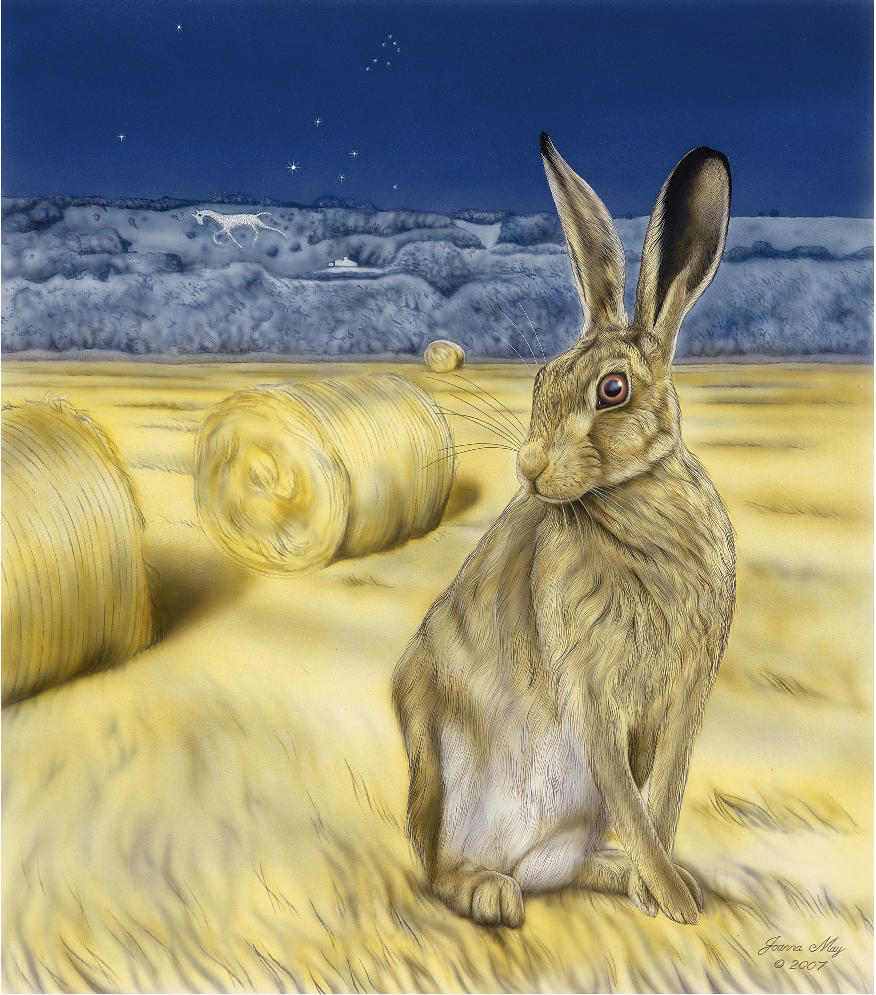 Broadtown Hare - a painting by Joanna May. A Hare is sat in a field, in the backgroung are round bales of straw. Beyond the field is a hill, with a white horse. In the night sky above, stars are shining.