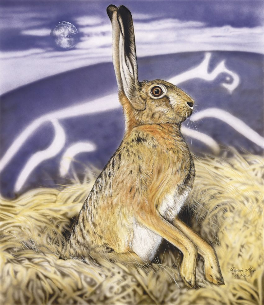 Moonshadow Hare - a painting by Joanna May. A Hare is sat in a mound of straw, in the background, a hill with a chalk animal is depicted. in the night sky above, there a full moon.