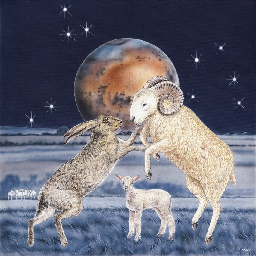 Aries Hare - a painting by Joanna May featuring a Hare, a Ram and a Lamb in the foreground. In the background is a full moon and the Aries constellation in the night sky.