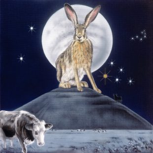 Taurus Hare - a painting by Joanna May. A Hare is on a Hill top, in the background there is a full moon and the Taurus constellation in the night sky. There is also a bull standing on the hill, a cattle in the field below.