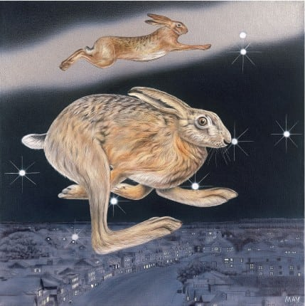 Gemini Hare - a painting by Joanna May. Two hares can be seen floating over the town of Malborough. In the night sky, there is a constellation of Gemini.