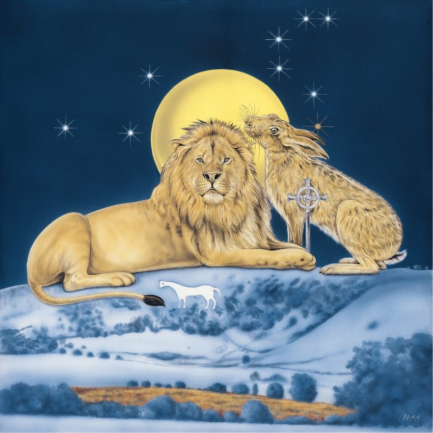 Leo Hare a painting by Joanna May. A Lion and a Hare sit on top of Westbury White horse, The Sun is shining behind them with the constellation of Leo in the sky.