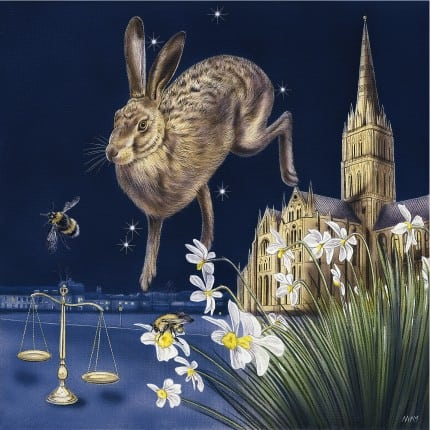 Libra Hare a painting by Joanna May. A Hare is leaping from Salisbury Cathedral floating in the air with the Libra star constellation fitting snugly around. Below the Hare is a set of balancing scales with a bee flying above. In the foreground, daffodills are growing, with a bee on one of the flowers.