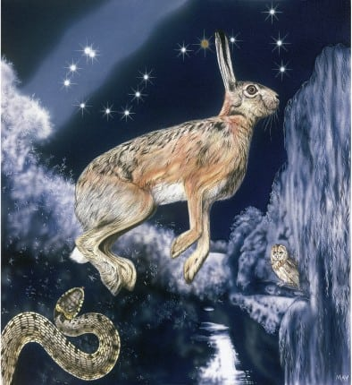 Scorpio Hare by Joanna May. A hare is jumping the river to get away from a snake. The night scene has the constellation of Scorpio in the sky which looks very much like a Scorpion; there is a distinct curled tail and two stars representing the sting. To finish off the painting there is a tawny owl in the tree representing knowledge.