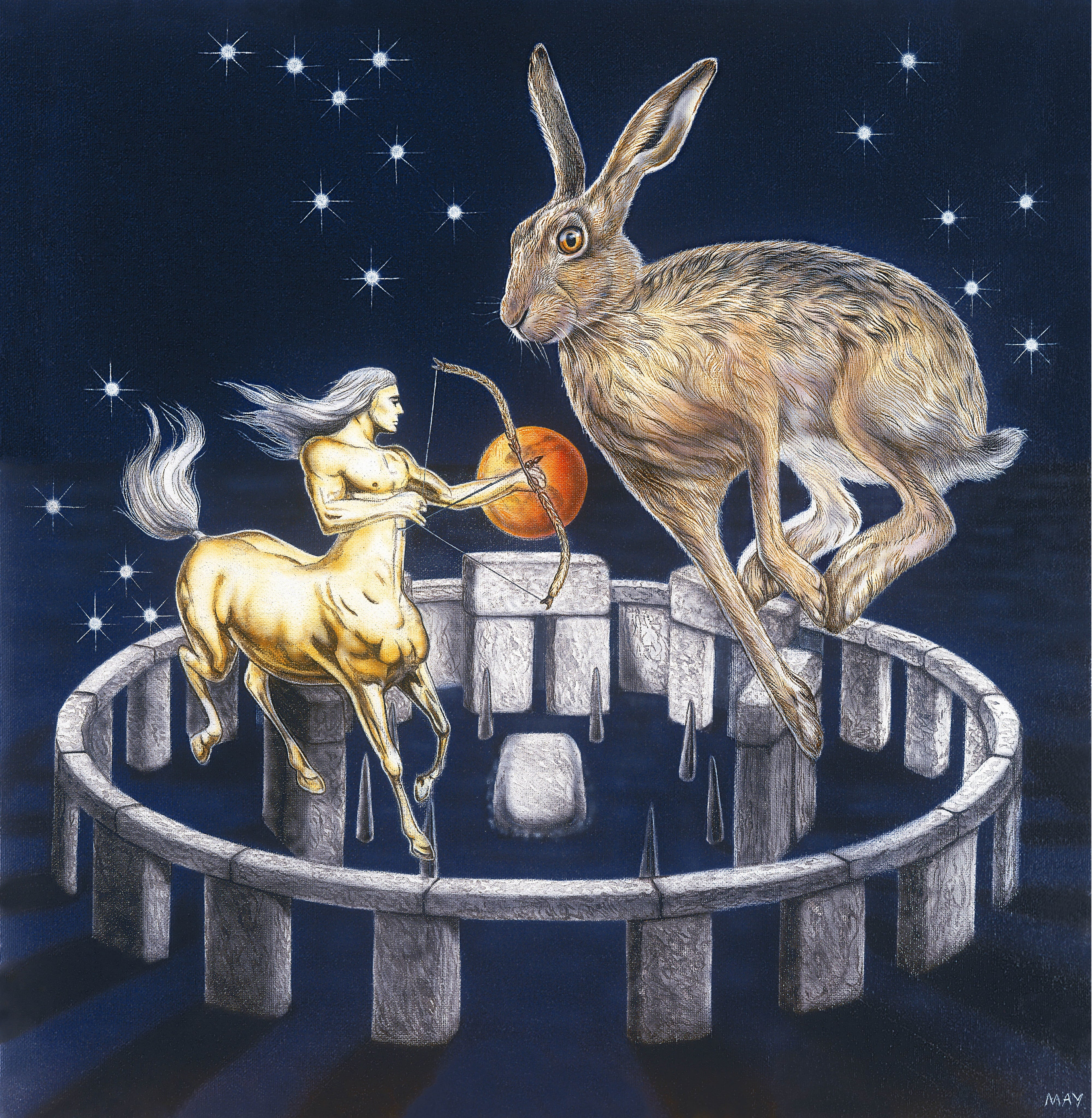 Sagittarius Hare by Joanna May. A Hare is leaping inside the Stonehenge stone circle. inside the circle is also an Archer; the Centaur is shooting a bow and arrow – he is shooting towards the heart of the hare a cupid arrow of love to freedom which the hare is a totem of.