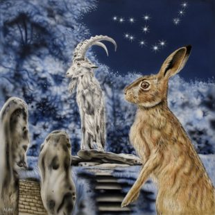 Capricorn Hare - a painting by Joanna May. A Hare is sat in the foreground with a mountain goat stood on top of an earth mound behind. The constellation of Capricorn is winkling in the night sky above them.