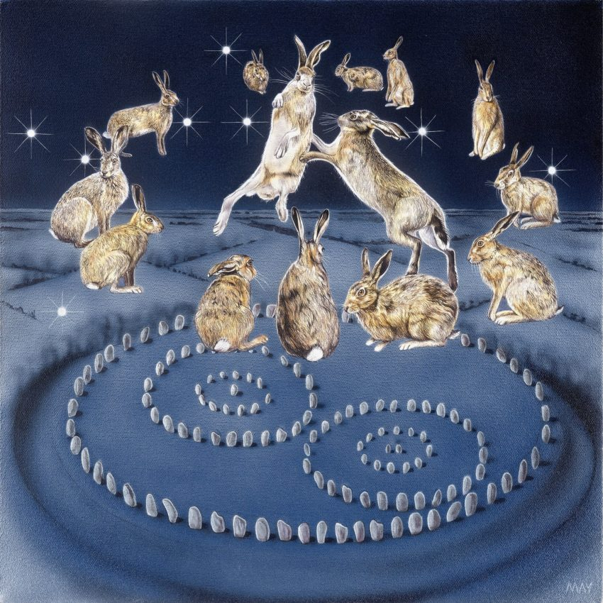 Aquarius Hare by Joanna May. Two Hares are boxing in the center of a circle of 12 Hares, floating above the Avebury circle. The Aquarius constellation can is in the sky.
