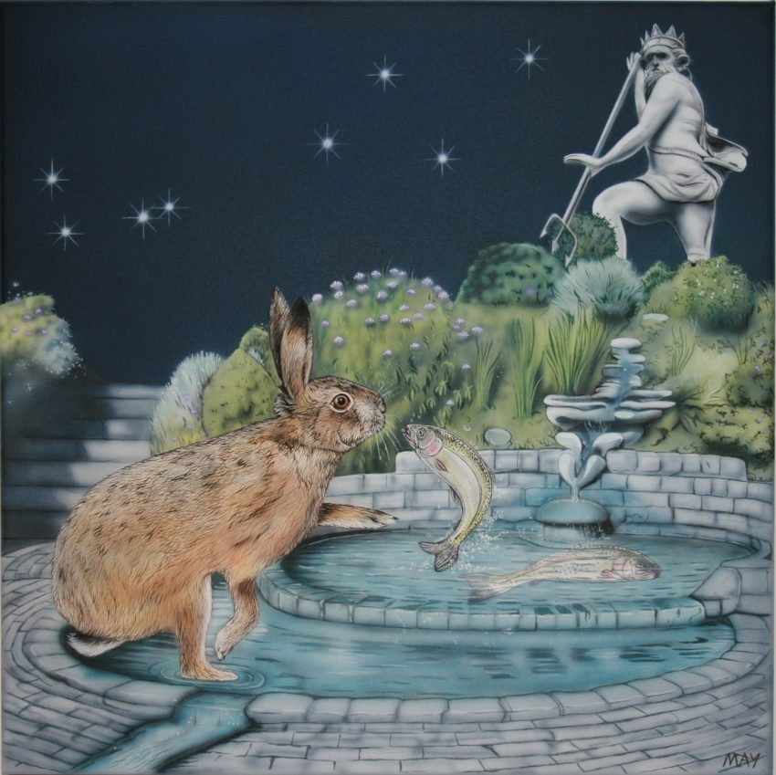 Pisces Hare a painting by Joanna May. A Hare is in the Chalice Well gardens in Glastonbury where there is a Pisces Pool within the grounds. Above the pool a statue of Neptune. Two fish are swimming the pool in opposite directions.