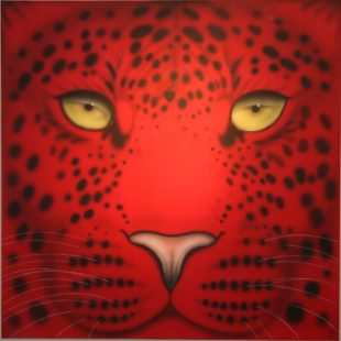 Joanna May's Red Leopard painting - a close up of a leopards face in red.