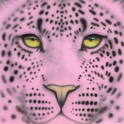 Joanna May's Pale Pink Leopard painting - a close up of a leopards face in pink