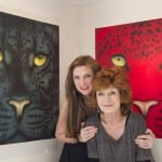 The Actress Rula Lenska in front of the new Black Jaguar and Red Leopard