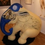 1 Painting the fiberglass Elephant with a hare from Wiltshire, my best known subject