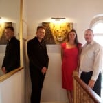 3 Chris Packham, Joanna May and Steven Boult in front of his painting Lion Heart