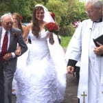 6 Jo, her Dad and the Vicar walking up to church
