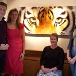 7 Chris Packham, Joanna May and Jane Cuff, with her daughter Alex, who bought the original of Green Eyes