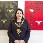 11 Sarah Bridewell, Mayor of Devizes in front of the original Red  Leopard which sold for £10,000 on the day.